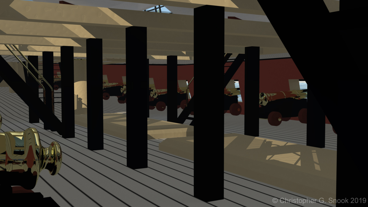 The upper gun deck of HMS Victory, showing her 12-pounder cannons and deck support pillars.