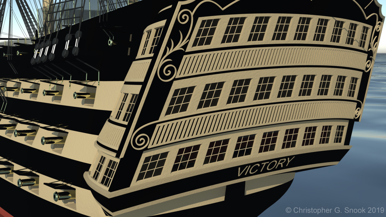 The stern of HMS Victory - showing fine wooden sculpture, window frames and port-side cannons.