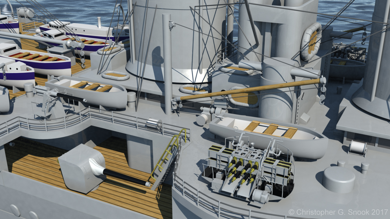 HMS Hood 1937 - Midships Detail