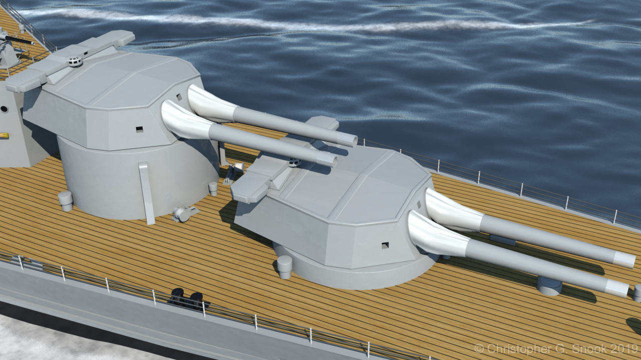 HMS Hood naval gun turrets X and Y - both 15 inch calibre.